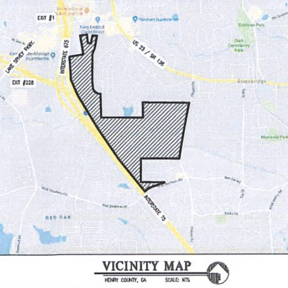Location of Reeves Creek mixed use project in Stockbridge