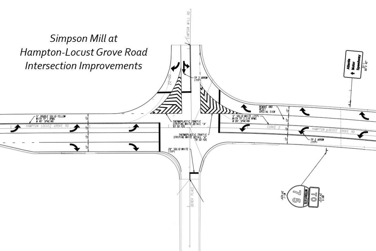 Map of intersection design at Simpson Mill and Hampton Locust Grove Roads