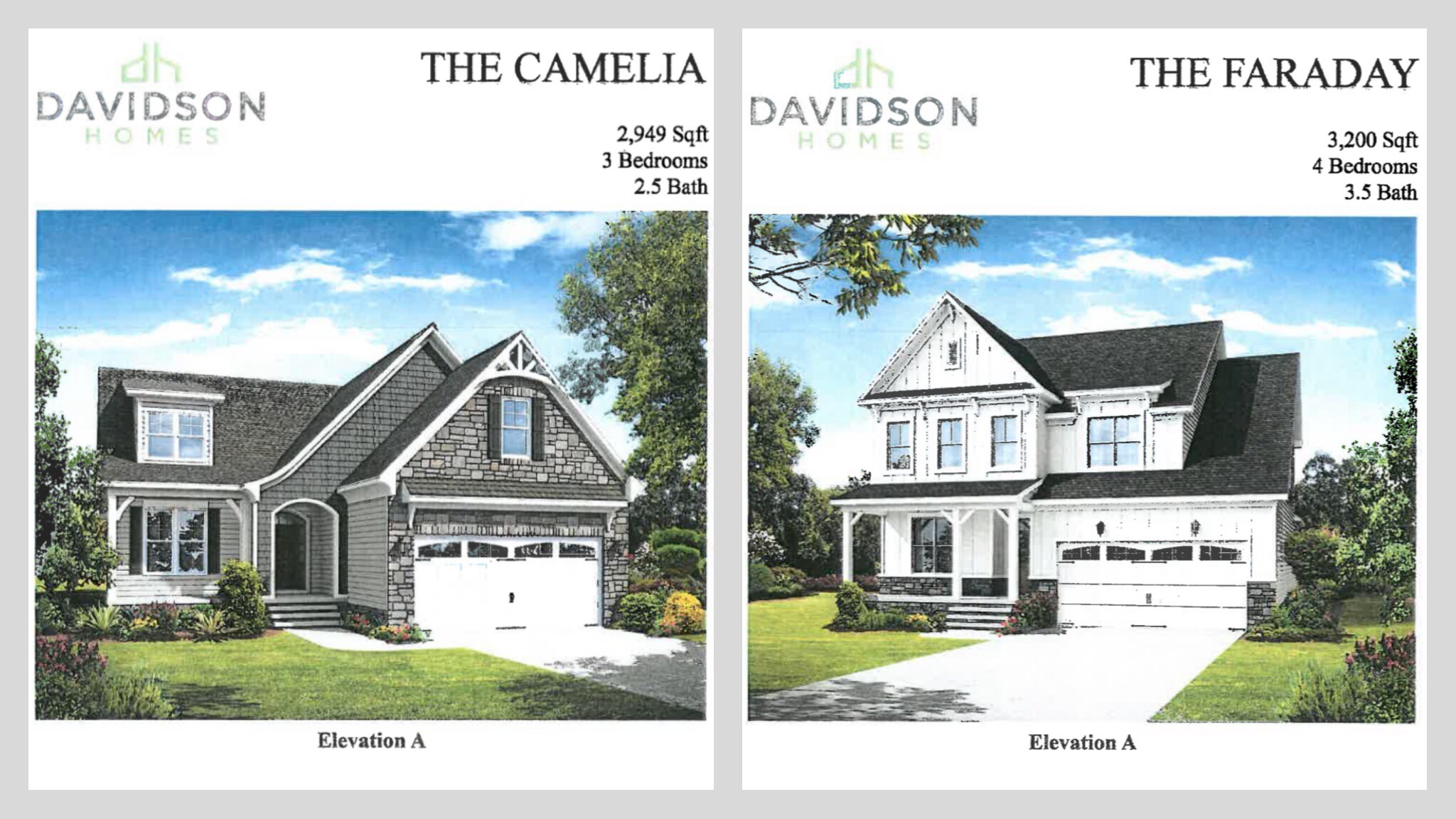 Concept front elevations for Stapleton Park subdivision (Davidson Homes photo)