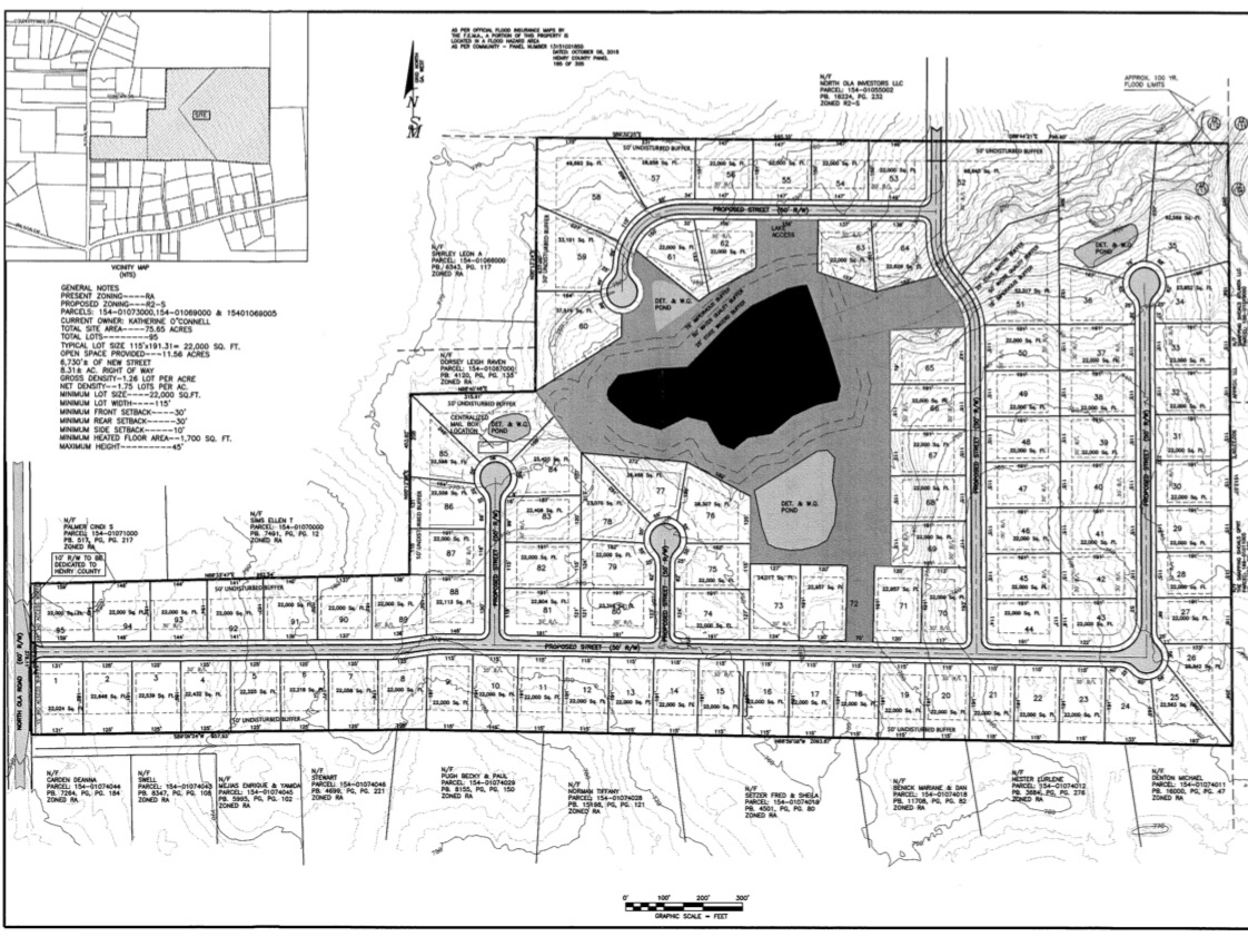 Concept site plan for Sealey Ventures, LLC subdivision on North Ola Road