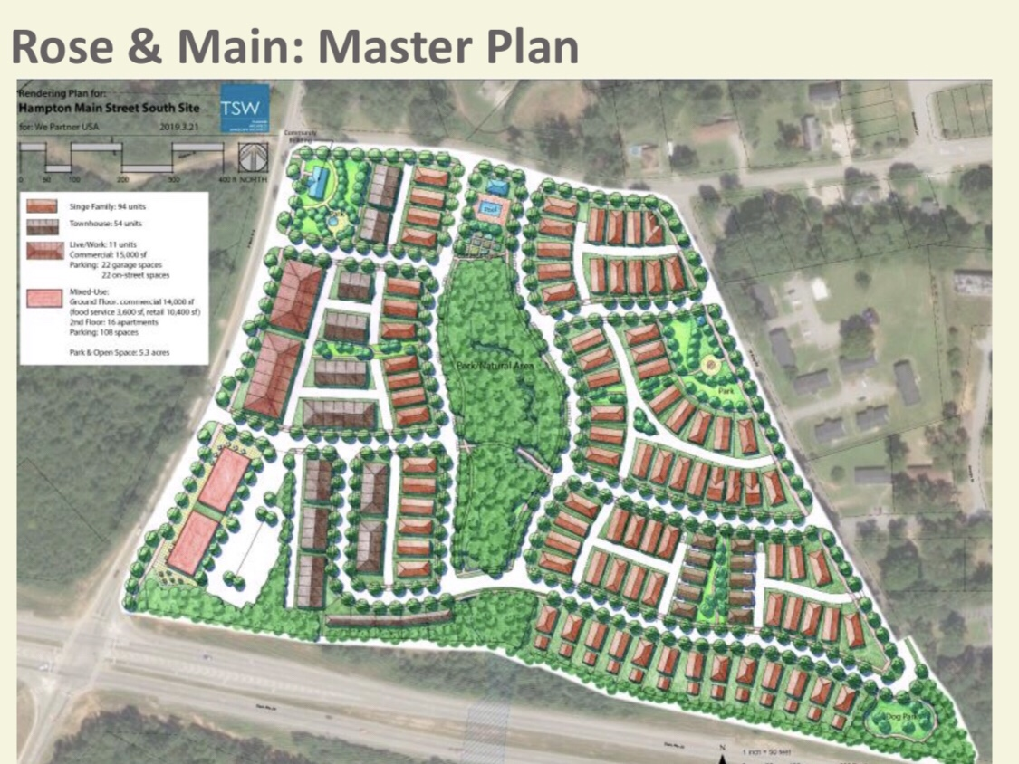 Concept site plan for Rose & Main