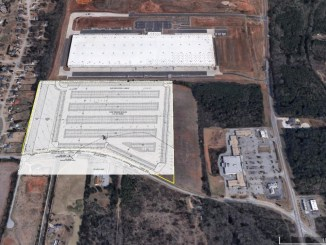 Sattelite image overlayed with concept site plan for Prologis Parking