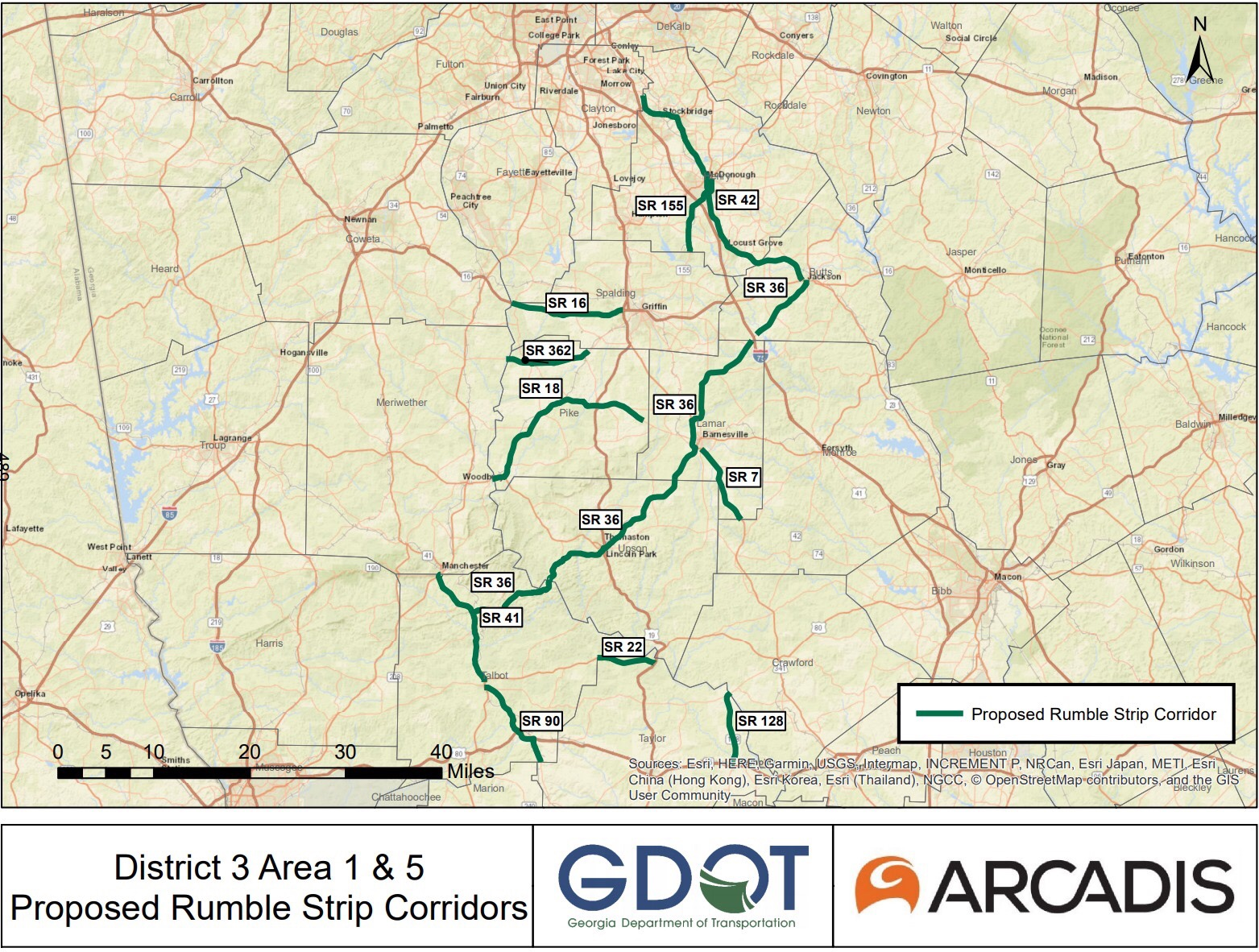 Project map for rumble strip installation May 2019 letting
