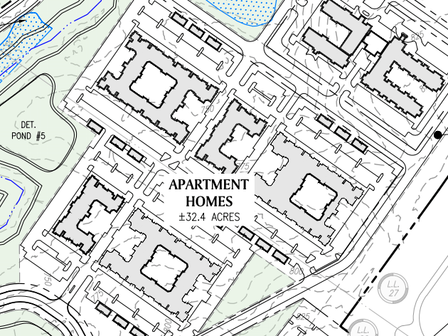 Reeves Creek concept site plan excerpt of apartments