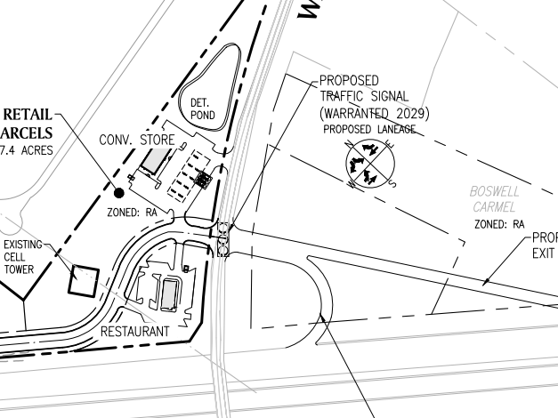 Reeves Creek concept site plan excerpt of Interstate 75 access