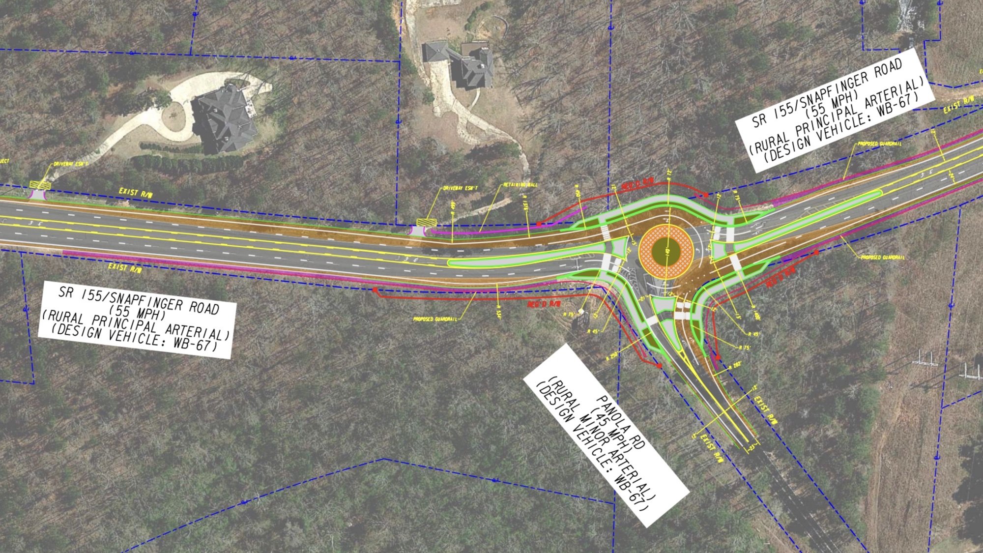 Concept layout of SR 155 at Panola Road roundabout (Georgia DOT photo)