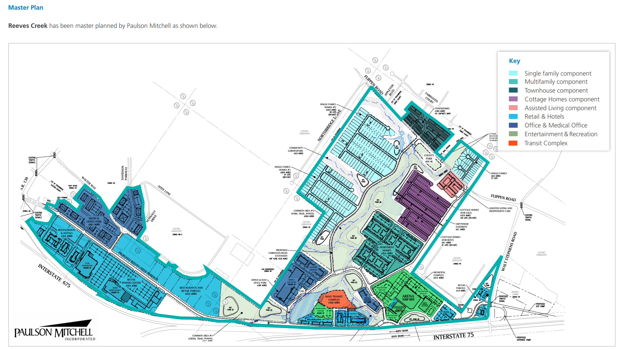 Concept site plan for Reeves Creek mixed use development (Pioneer Land Group photo)