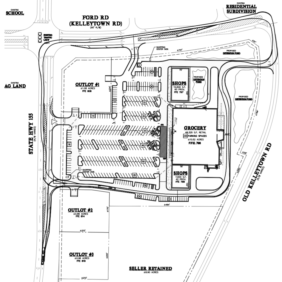 Concept site plan of new grocery store at Kelleytown Road (JWA Ventures photo)