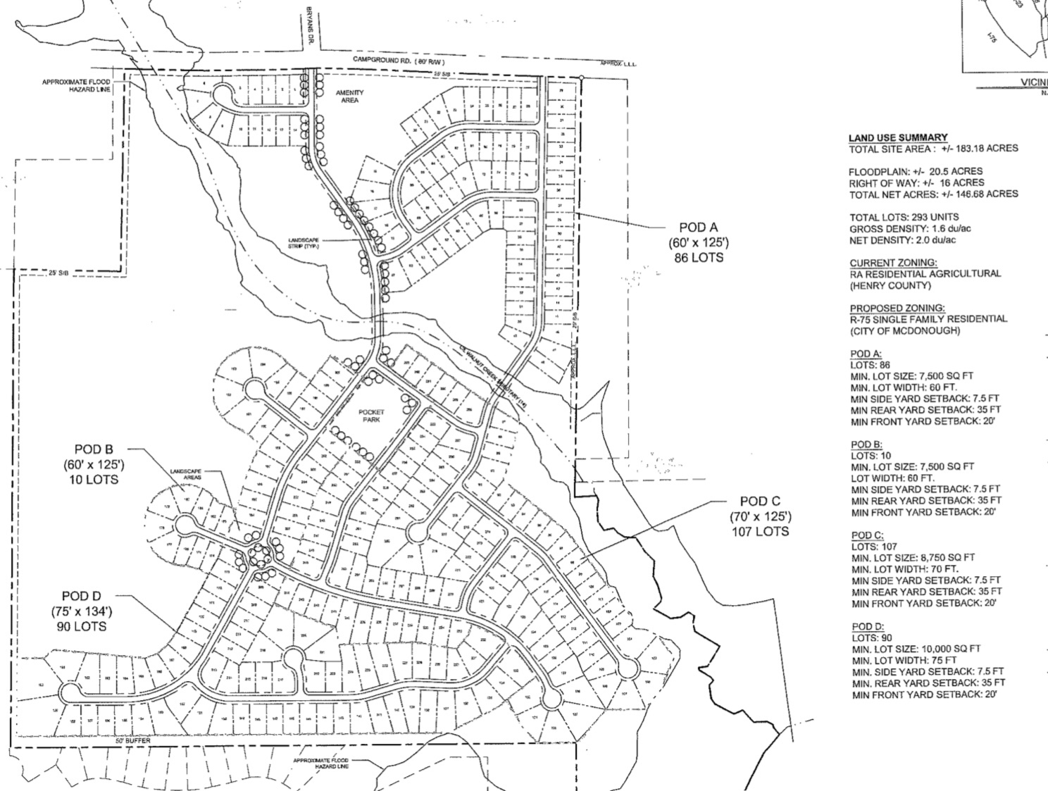 Revised site plan for Campground Road annexation (Falcon Design photo)