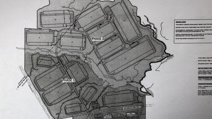 Concept site plan for River Park development (Falcon Design photo)