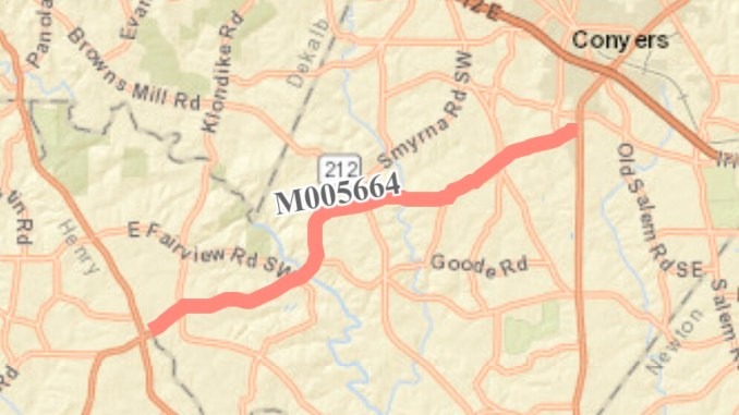 Map of SR 138 resurfacing in Rockdale County (Georgia DOT photo)