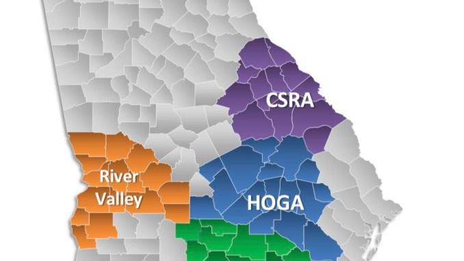 Map showing regions of Georgia where a regional transportation SPLOST is in effect (Georgia DOT photo)