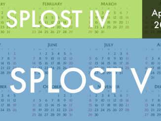 Photo of a 2020 calendar showing the start of SPLOST V (staff photo)