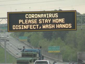 Photo of interstate message board advising about Coronavirus (Clayton News photo / Robin Kemp)