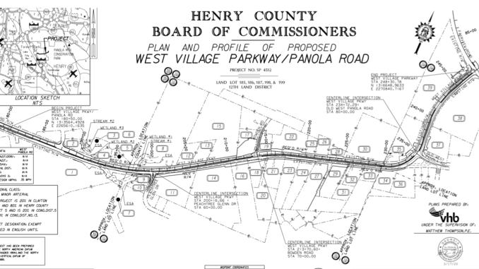 Plans overview for West Village Parkway widening (Henry County photo)