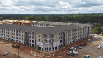 Aerial photo of Canyon Springs apartments under construction in April 2020 (staff photo)