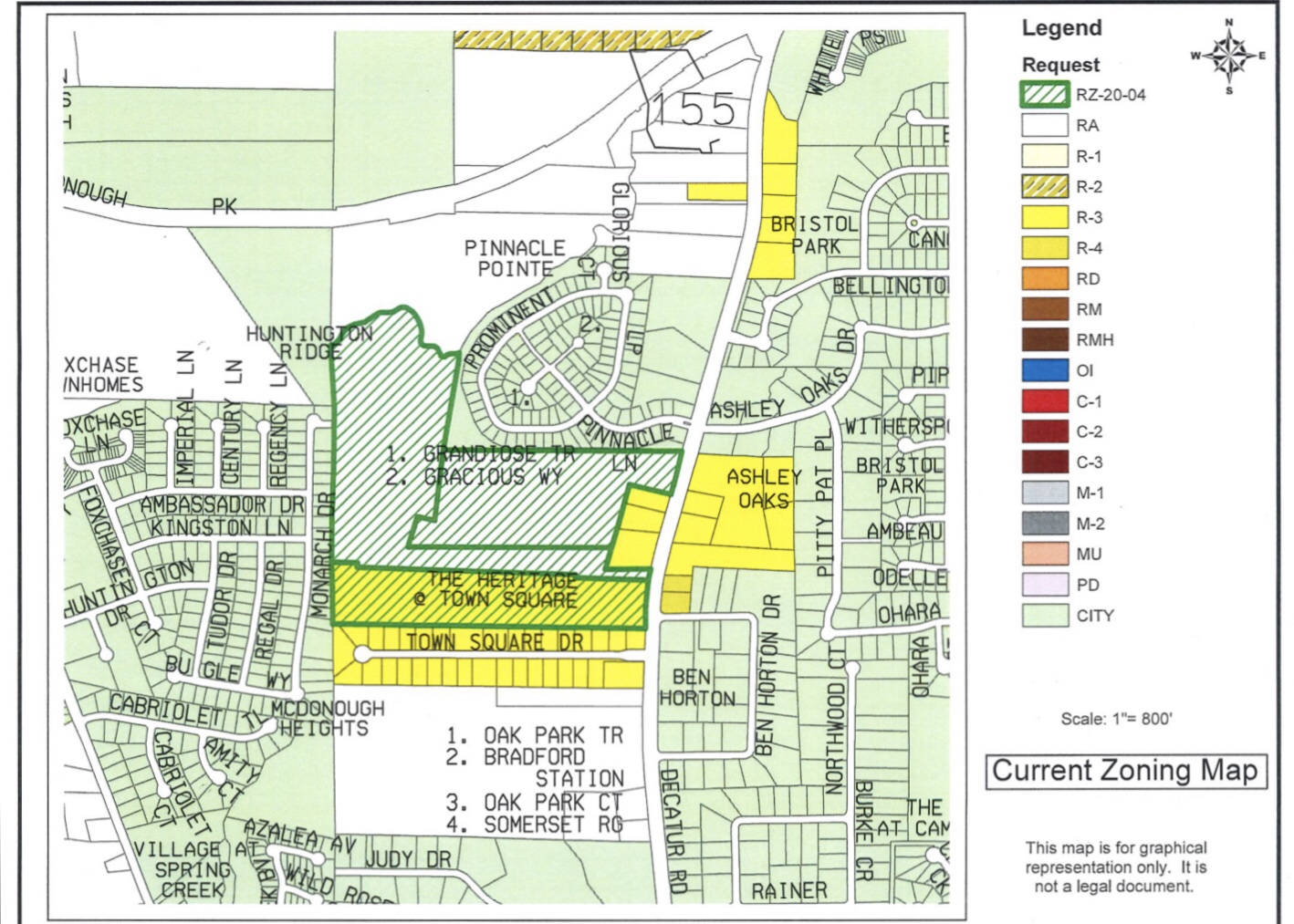 SR 155 zoning map in the vicinity of the proposed devdevelopment (Henry County photo)