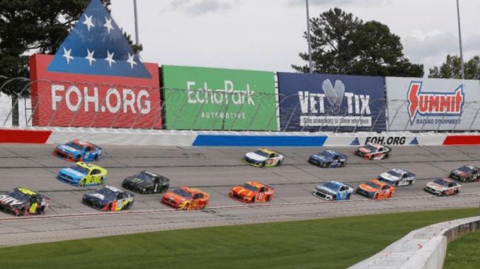 Photo of race cars at AMS (Atlanta Motor Speedway photo)