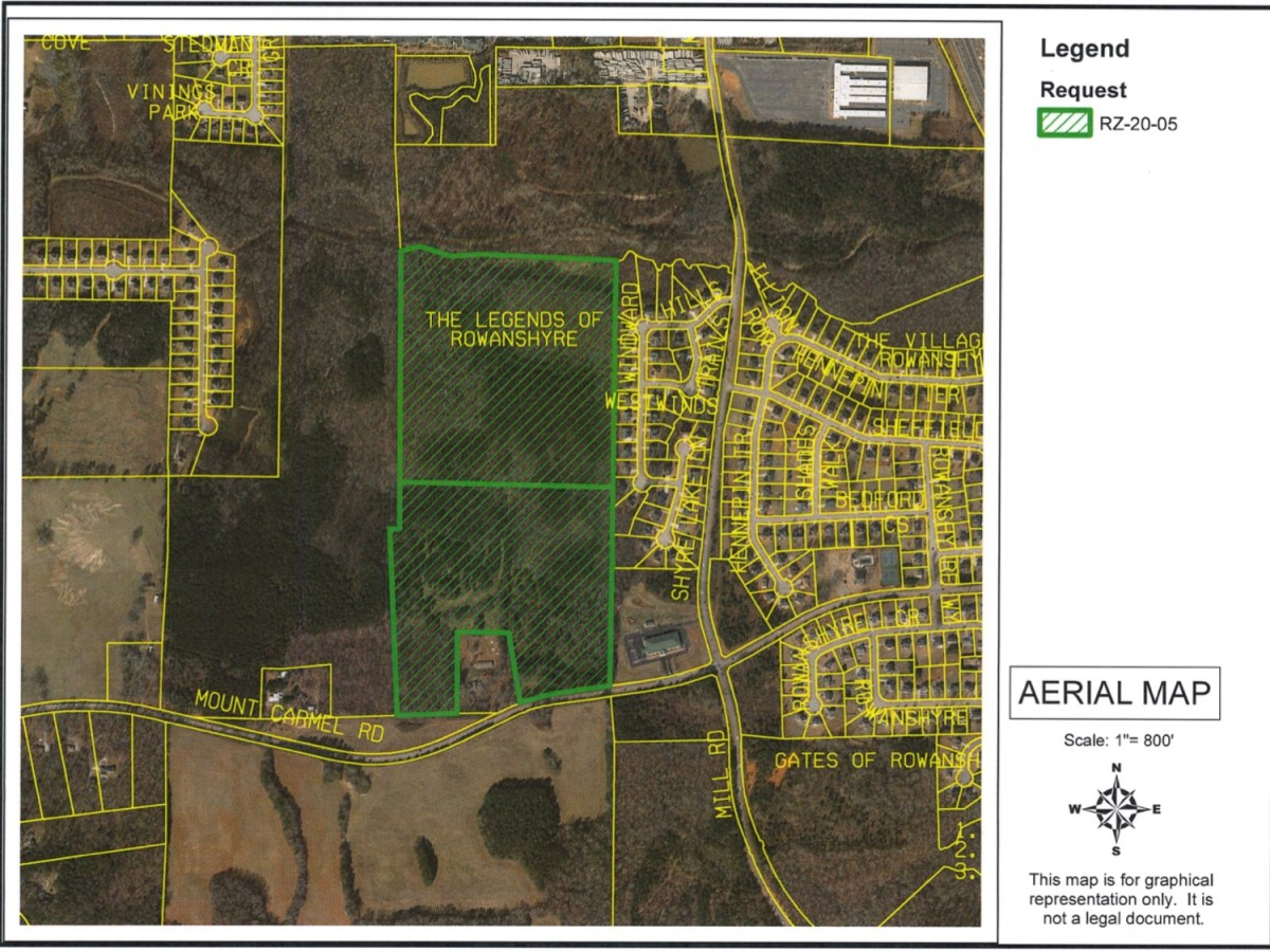 Aerial map depicting the Mt Carmel Road proposed development (Henry County photo)