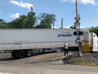 Photo of truck stuck on Bowden Street railroad crossing in Locust Grove (special photo)