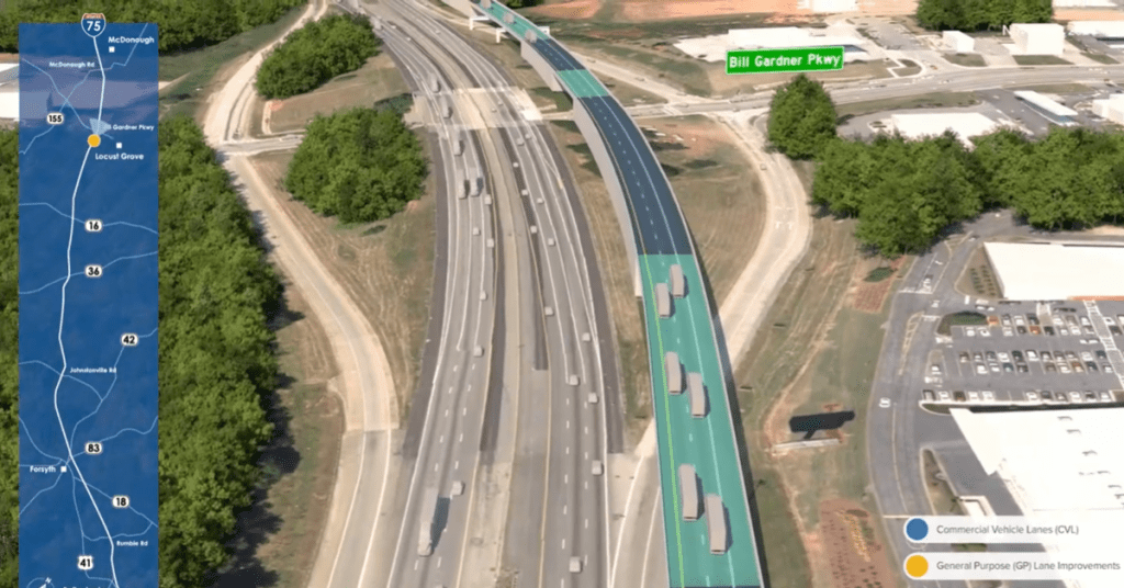 Concept photo of I-75 truck lanes with a new fly-over bridge at Bill Gardner Parkway in Locust Grove (Georgia DOT photo)