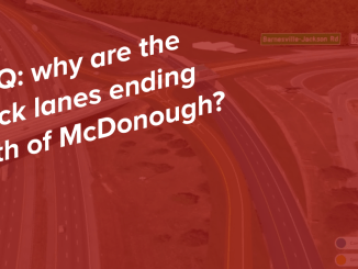"Concept photo of the truck lanes with text ""FAQ: why are the truck lanes ending south of McDonough?"" (special photo)"
