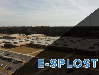 "Aerial photo of McDonough High School with words ""E-SPLOST VI"" (staff photo)"