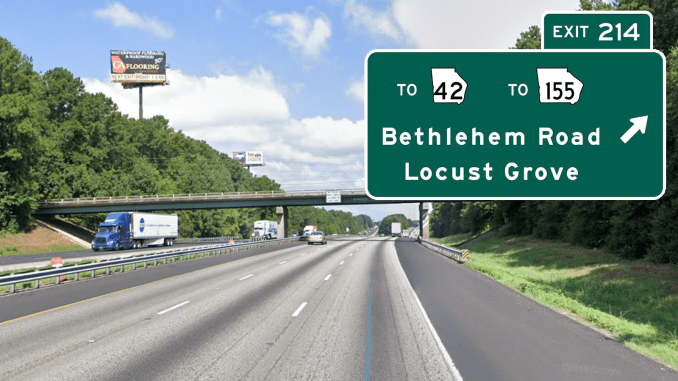 Photo of Bethlehem Road overpass with custom road sign overlay (Google Maps photo / Signmaker sign)