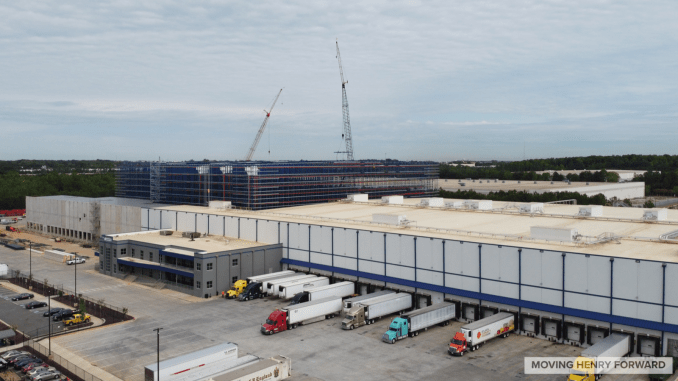 Aerial photo of US Cold Storage in McDonough with an expansion under construction in April 2020 (staff photo)