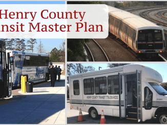 "Photo collage with the text ""Henry County Transit Master Plan."" Photos depicting MARTA heavy rail service (MARTA photo), Xpress commuter bus service (Xpress photo) and Henry County transit bus (Henry County photo)."