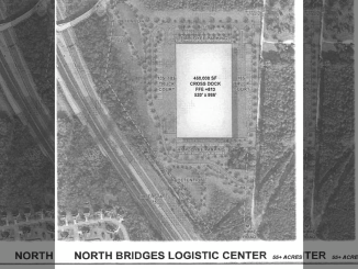 Concept layout of proposed North Bridges Logistics Center on North Bridges Road. Layout depicts 450,000 square foot warehouse with truck parking and employee parking. (E&A photo)