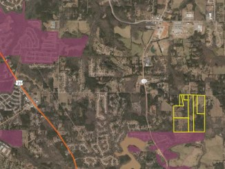 Area map showing central Henry County with the Campground Road conservation subdivision highlighted in yellow (Henry County qPublic photo).