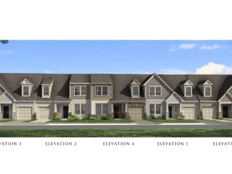Photo depicts concept front elevation for townhomes off Jonesboro Road north of Heritage Way (Dan Ryan Builders photo)
