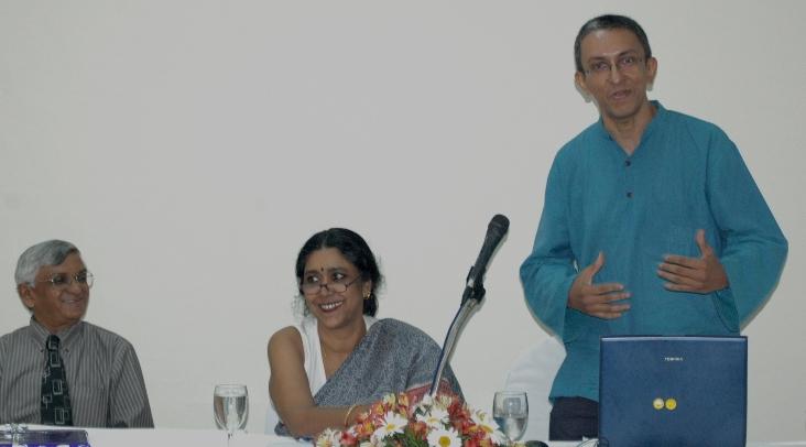 The Coming Ka-Boom? L to R: Vijitha Yapa and Sharmini Boyle seem to be amused as Nalaka Gunawardene speaks