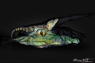 Body painting : Des animaux peints sur des corps nus