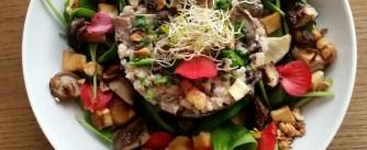 Riz, champignons, panais, noisettes
