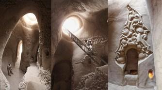 Il sculpte ces grottes depuis 10 ans