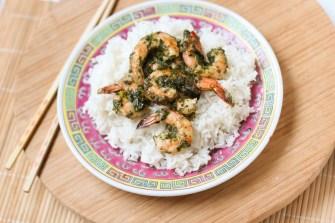 Crevettes marinées, sauce thaï au coriandre et basilic