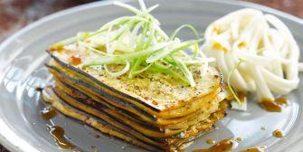 Millefeuille d'aubergines au tofu
