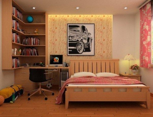ado-chambre-coucher-orange-étagère