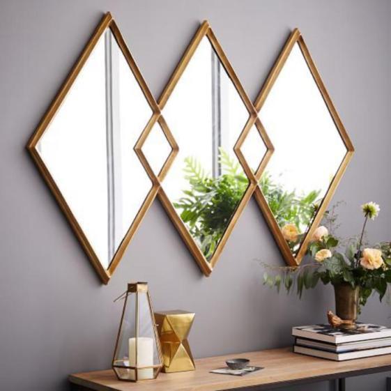 miroir-design-triptique-miroir-rombs-cadre-dore