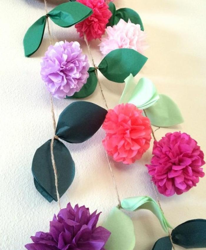 Encore Une Idee De Guirlande De Fleur Papier De Soie A Fabriquer