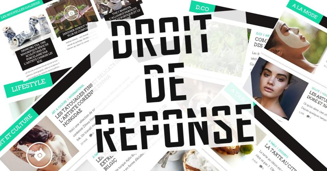 DROIT DE REPONSE