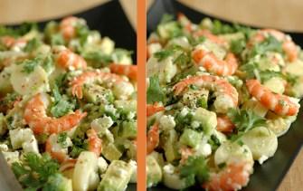 Salade de chevrettes, coeur de palmier, avocat, feta et coriandre
