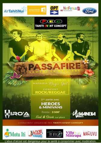Tahiti Live Concept présente PASSAFIRE en concert à Mataiea