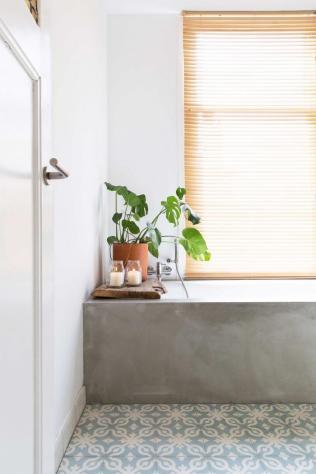 des-plantes-vertes-sur-le-rebord-de-la-baignoire