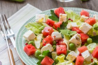 La salade de fromage de brebis et pastèque