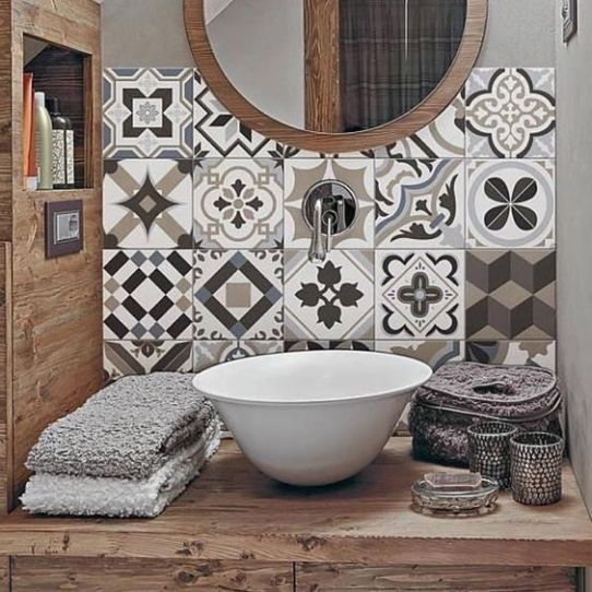 Mosaique Noir et blanc - salle de bain (13)