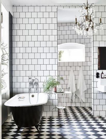 Mosaique Noir et blanc - salle de bain (14)