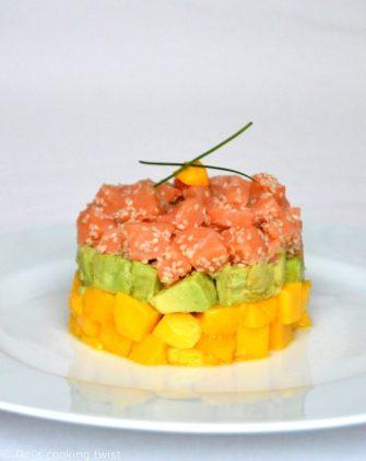 Le tartare de saumon à la mangue et à l'avocat